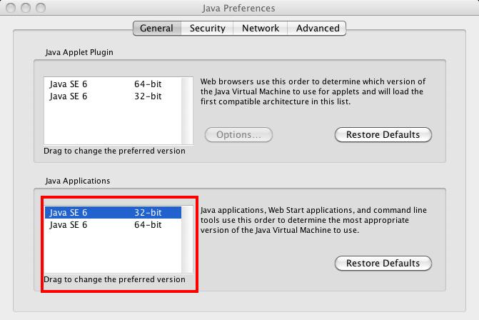 Mac OS X 10.6 JAVA Preferences